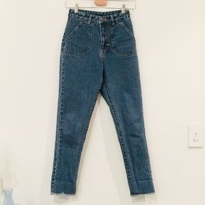 HIGH WAISTED DARK WASH STRAIGHTLEG JEANS